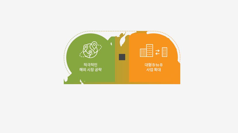 적극적인 해외 시작 공략 / 대형 B to B 사업 확대